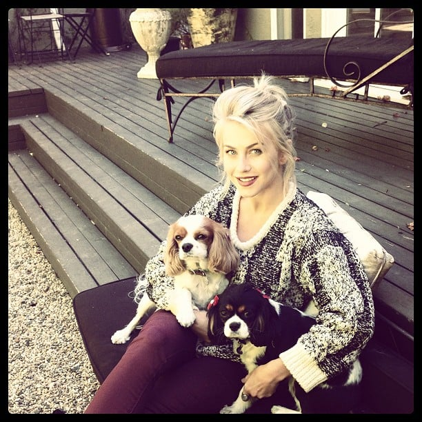 """Julianne Hough shared a photo while snuggling with her dogs, saying, """"I get to finally wear sweaters and drink pumpkin spiced lattes..."""" Source: Instagram user juleshough"""