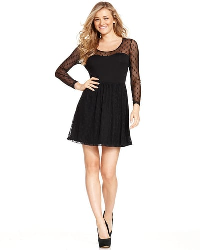 Kensie Dress, Long-Sleeve Scoop-Neck Swiss-Dot A-Line