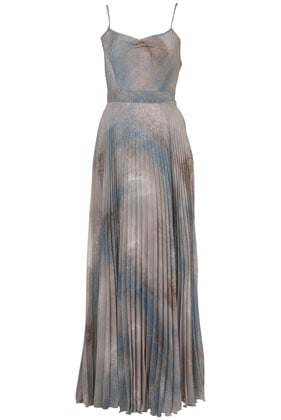 Topshop Gray Pleated Maxi Dress ($160)