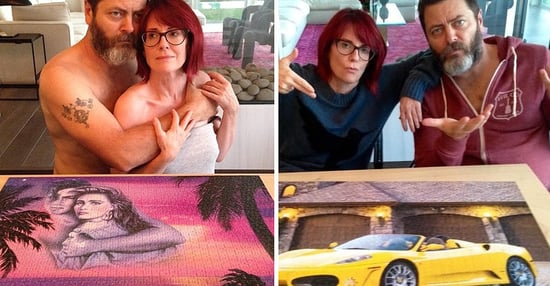 Nick Offerman And Megan Mullally Do Puzzles Together And It's So Frickin' Cute