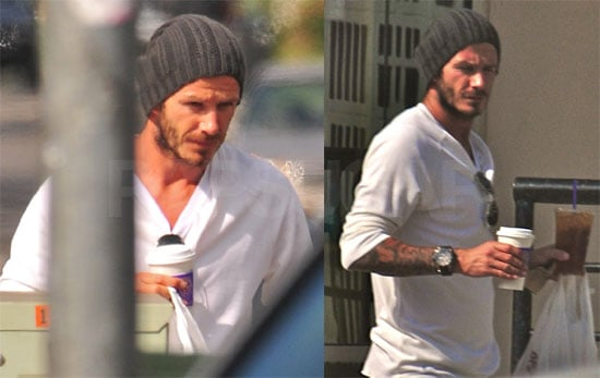 Photos of David Beckham Picking Up Coffee For Victoria in LA