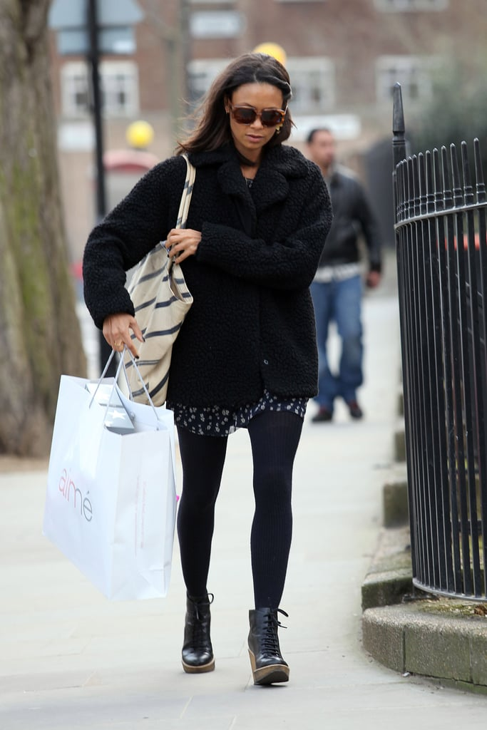 Thandie Newton made running errands look very chic in a printed dress, tights, and a pair of lace-up boots we're currently obsessing over.