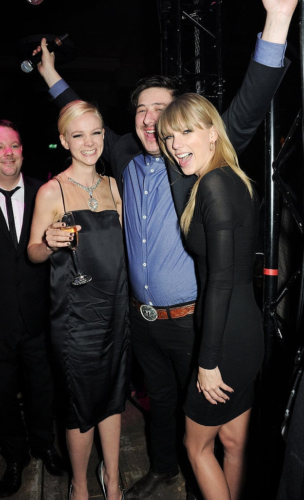 Carey Mulligan, Marcus Mumford and Taylor Swift were in party mode at a Brit Awards after-party on February 21.