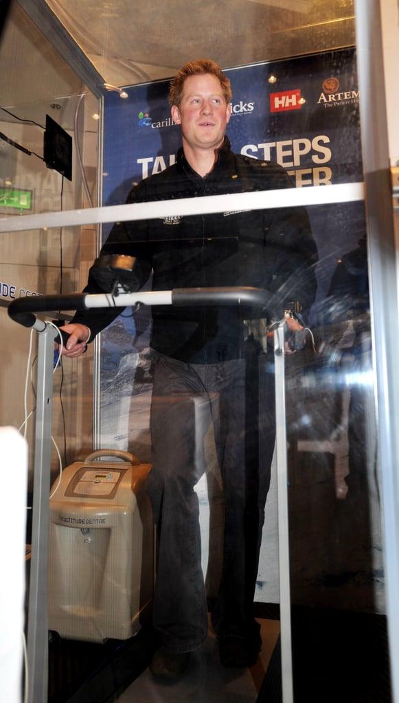 Prince Harry on a treadmill.