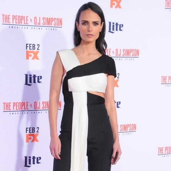 Jordana Brewster in Black and White Cutout Jumpsuit