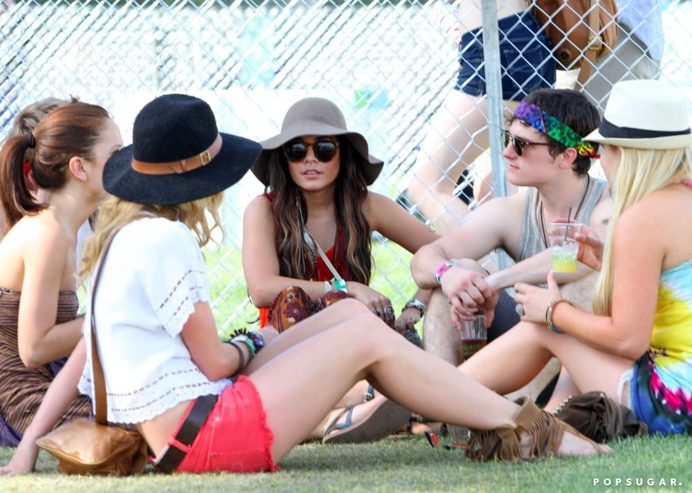Vanessa Hudgens and Josh Hutcherson lounged in between sets in 2011.
