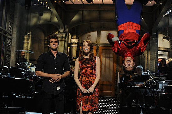Emma Stone and Andrew Garfield laughed on stage together as they performed a monologue on SNL.