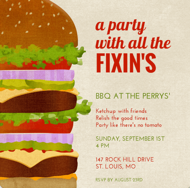 No need to worry that your barbecue won't stack up with this funny invite (price upon request).
