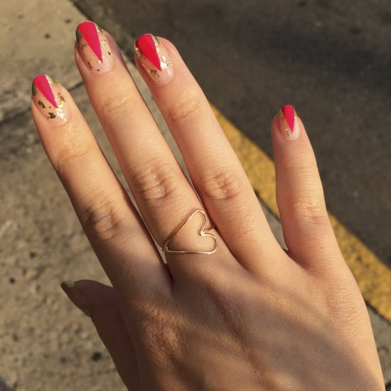 A Graphic Gold-and-Pink Manicure That Will Revive Your Summer Tan