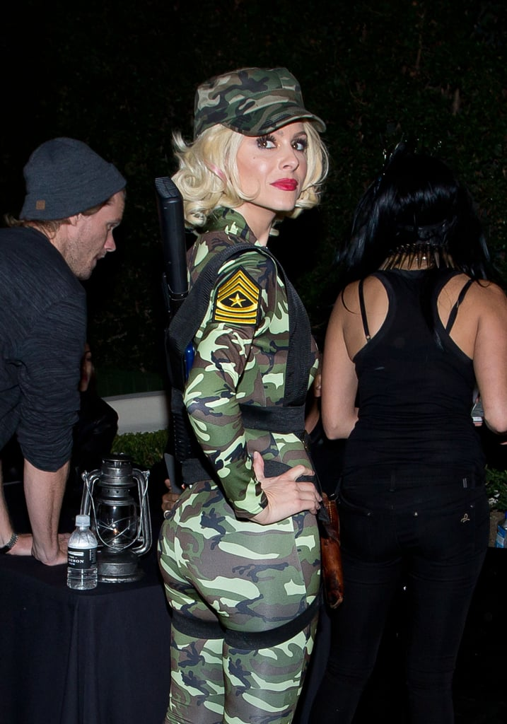 Maria Menunos donned a blond wig and camouflage jumpsuit to play the part of a powerful paratrooper in LA in 2014.
