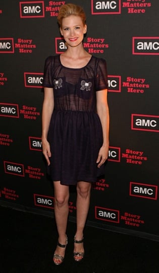 January Jones Attends AMC Party Wearing a Sheer LBD With Bows