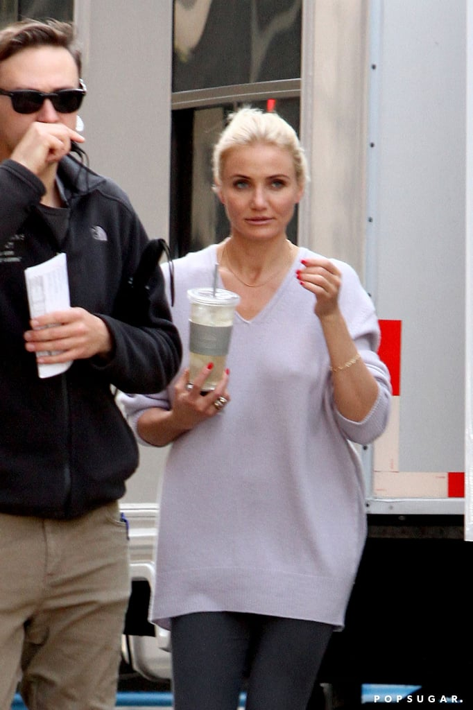 Cameron Diaz grabbed a drink between takes on the set of The Other Woman on Tuesday.