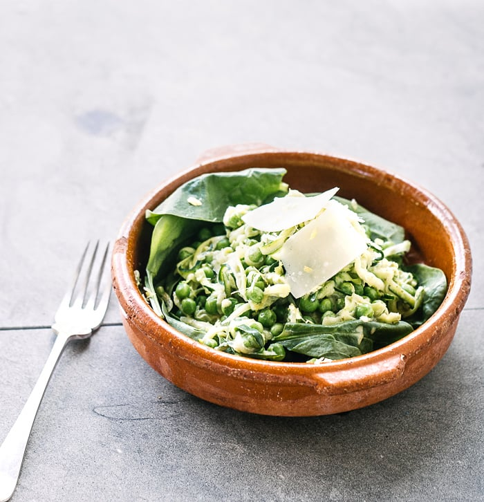 """Zucchini """"Pasta"""" With Peas and Parmesan"""