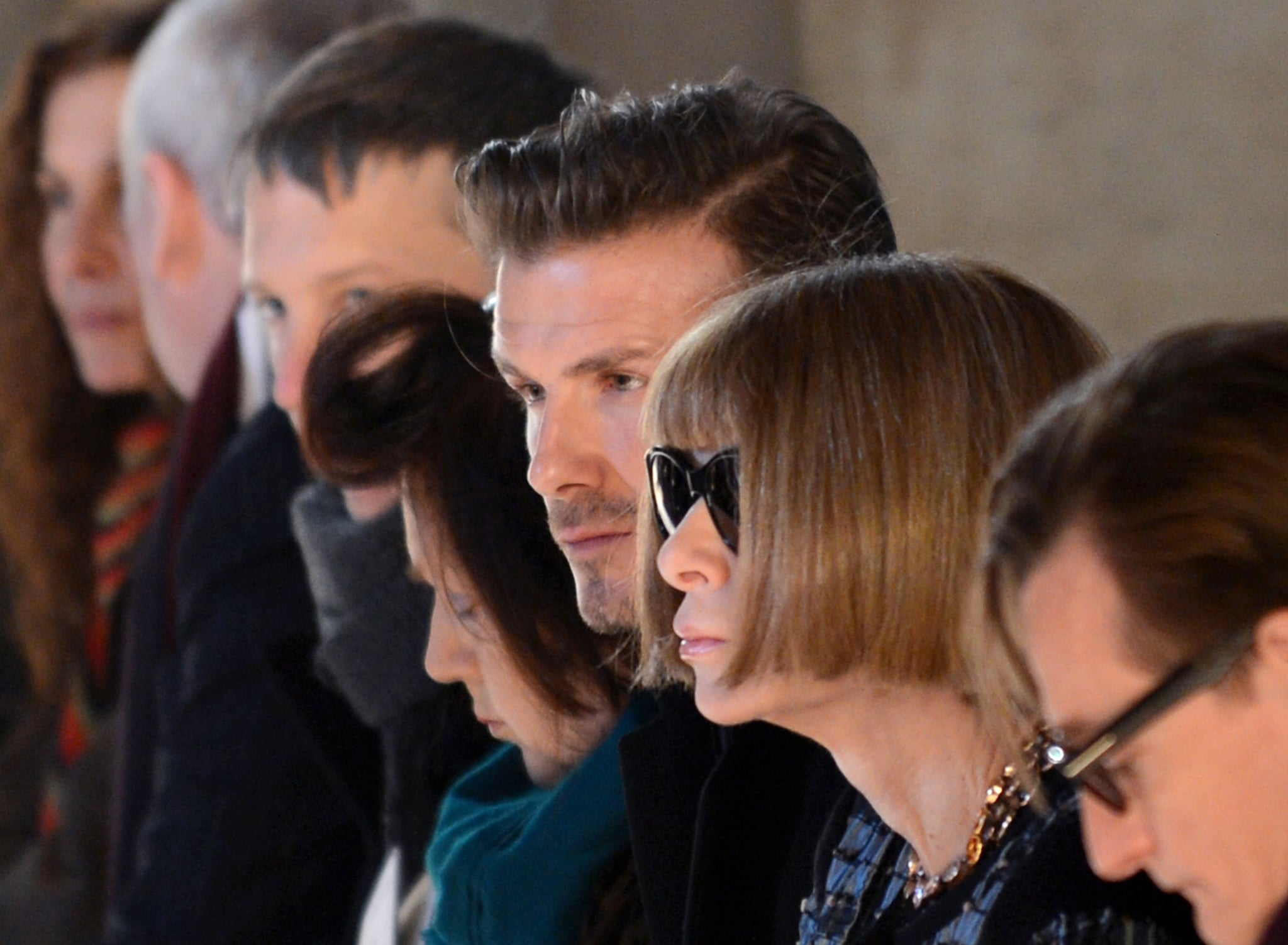 Anna Wintour and David Beckham were paired up again to watch the Victoria Beckham Fall 2013 show. David Beckham has yet to land a Vogue cover of his own, but we're content with all his most recent stylish activity.