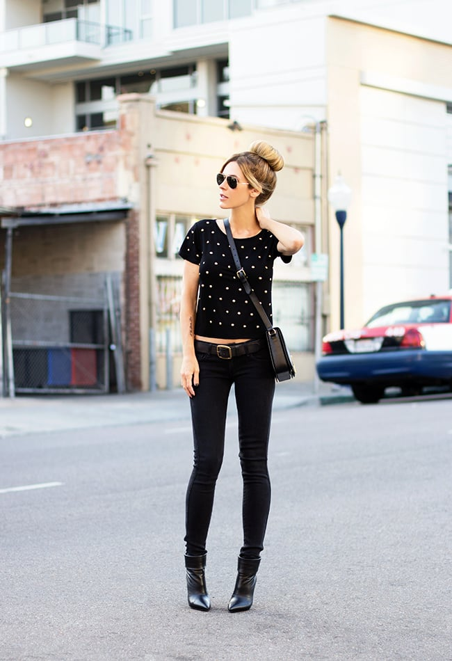 All-black still felt Spring-appropriate, thanks to a cropped tee to counter skinnies and ankle boots. Source: Lookbook.nu