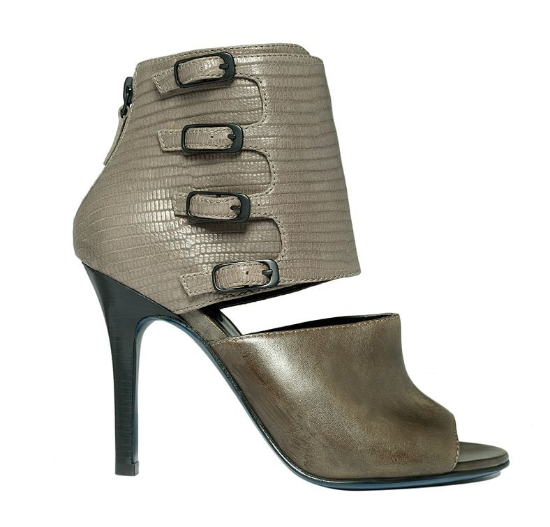 Army green plus reptile print equals Spring cool — just throw on a pair of jeans and go. Cole Haan Shoes by Maria Sharapova Air Alexis open-toe bootie ($180)