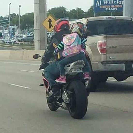 Mom Addresses Little Girl Riding on the Back of a Motorcycle