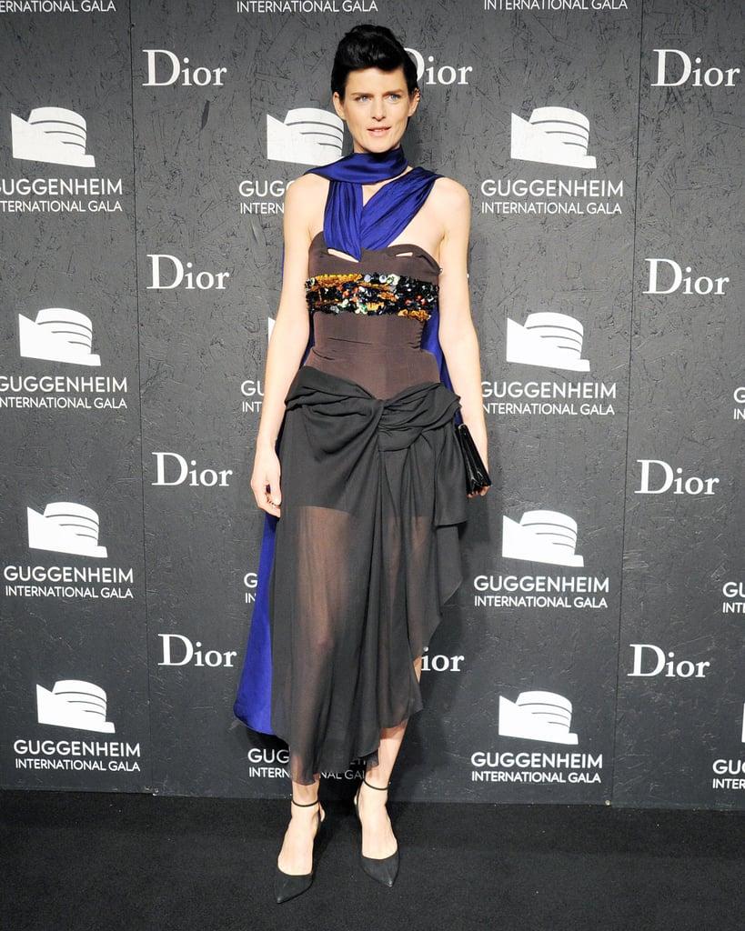 Stella Tennant was draped in drama at the Guggenheim International Gala.