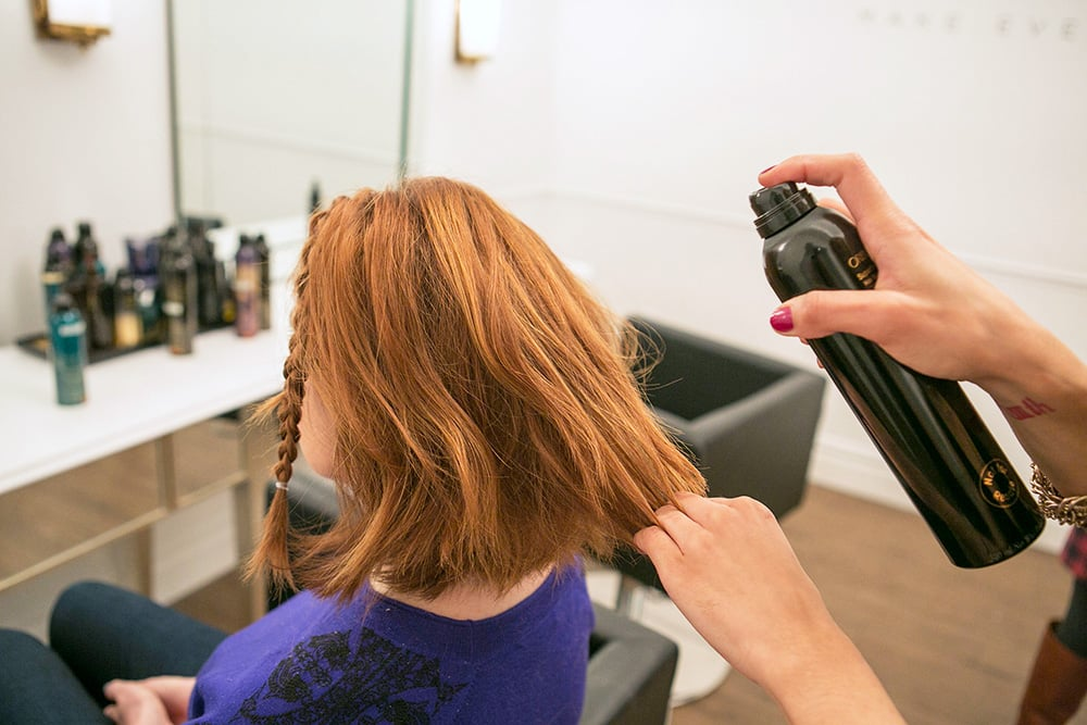 Now for the rest of your hair, go back and add in some waves. Huffnagle recommends prepping your hair with a flexible hold hairspray, like Oribe Superfine Spray ($32), to give your hair texture and holding power. Source: Caroline Voagen Nelson