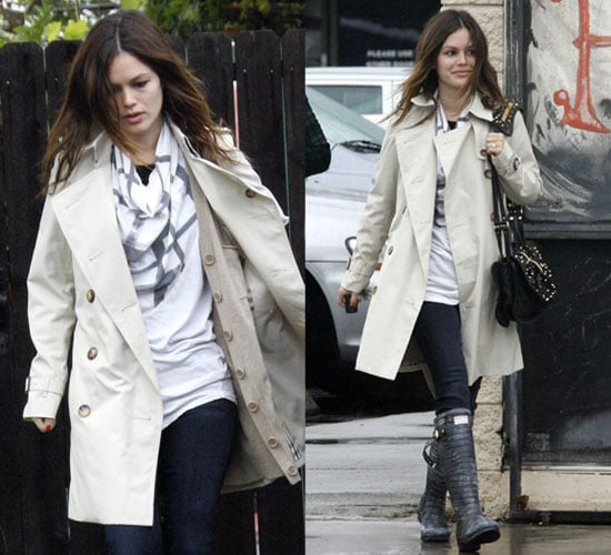 Photo of Rachel Bilson in Trench Coat and Hunter Rain Boots in LA
