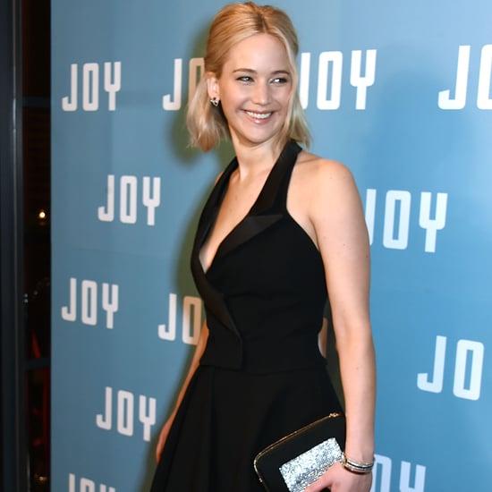 Jennifer Lawrence in Black Tuxedo Dress | December 2015
