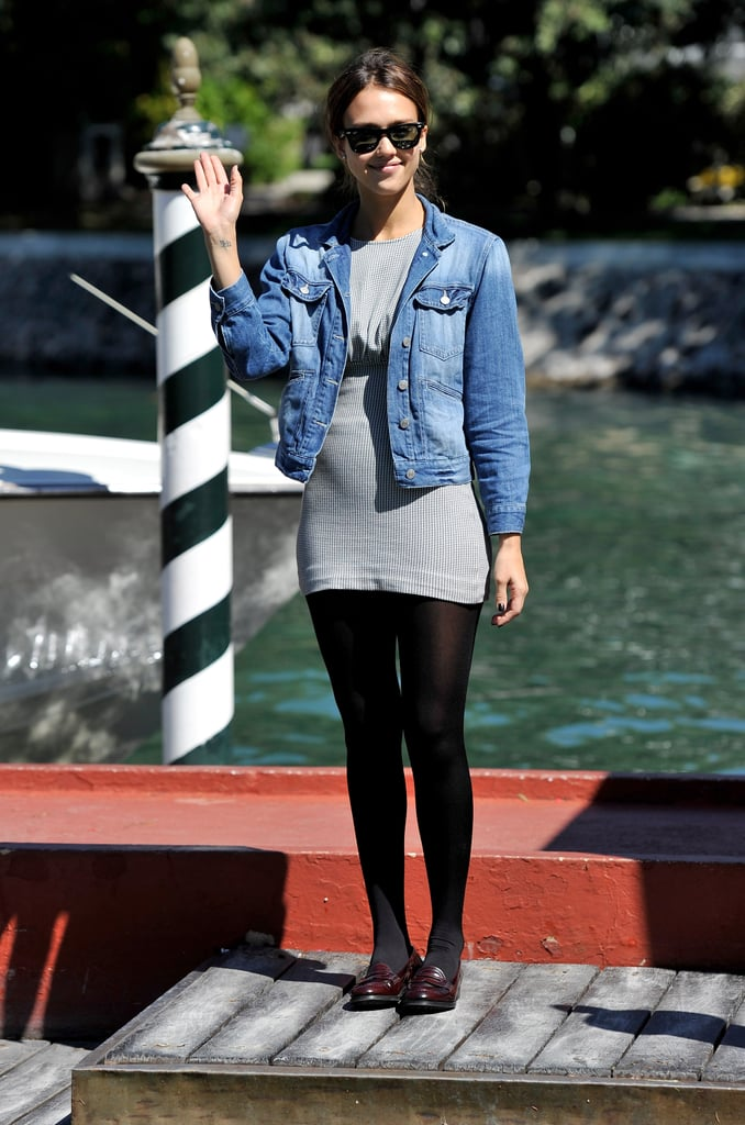 Once in Venice, she kept her denim jacket on and wore a simple minidress and loafers.