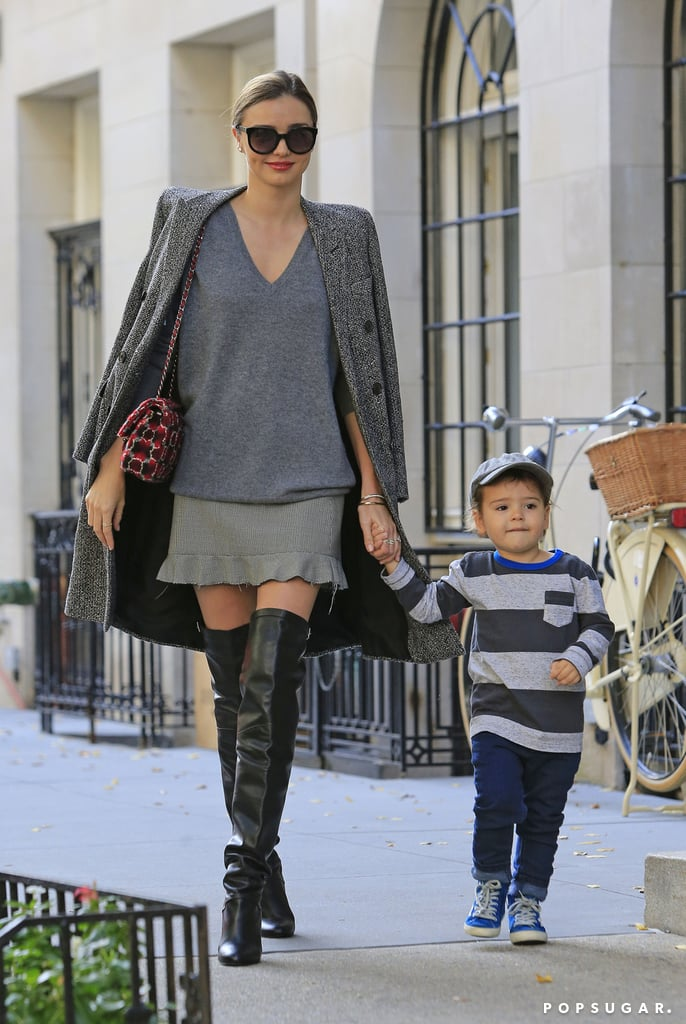 Miranda Kerr held on to Flynn Bloom's hand.