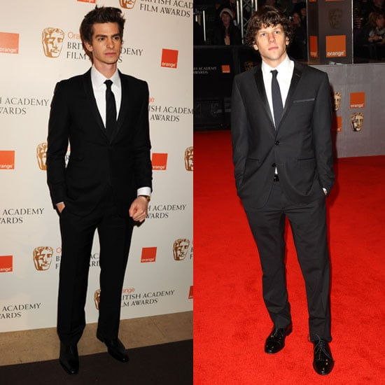 Pictures of The Social Network's Jesse Eisenberg and Andrew Garfield on BAFTA Awards Red Carpet 2011
