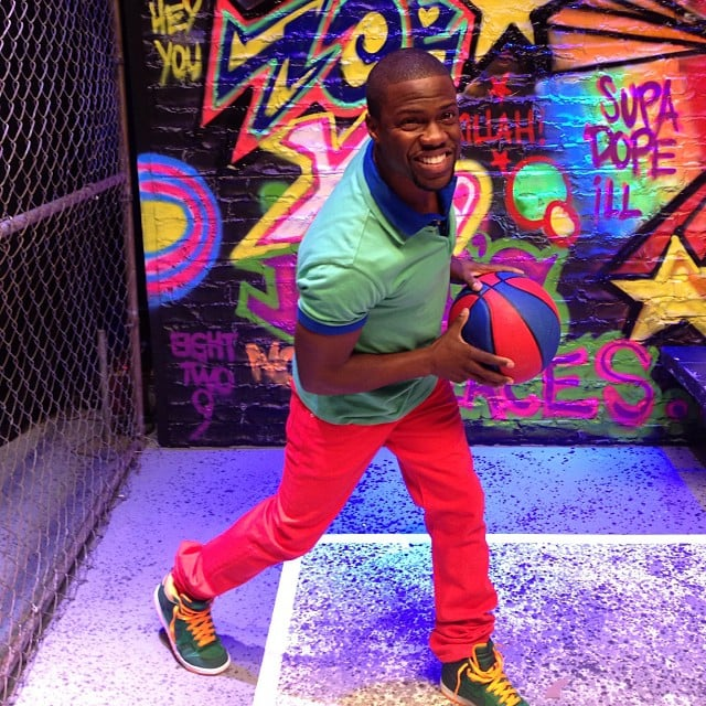 Kevin Hart sported a colorful outfit on the set. Source: Instagram user kevinhart4real