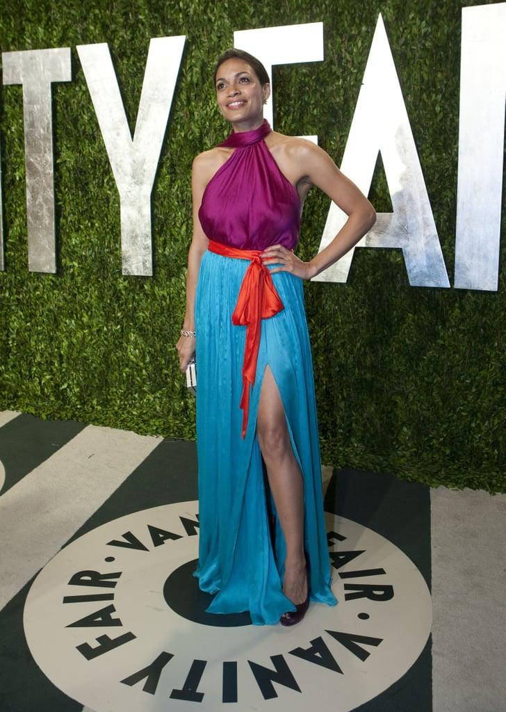Rosario Dawson had a thigh-high slit on her Ferragamo dress.