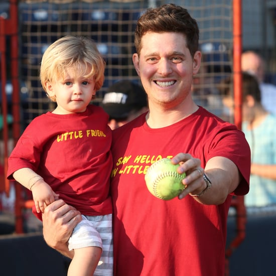 Michael Bublé and Son Noah Throwing Out First Pitch