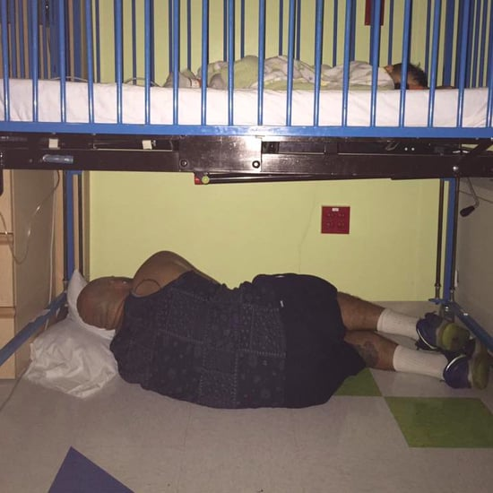 Viral Photo of Dad Sleeping Under Crib