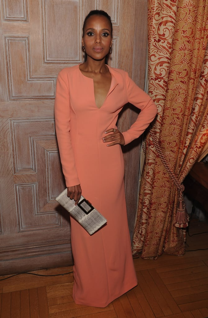 Kerry Washington wore a long coral gown to the White House Correspondant's Dinner.