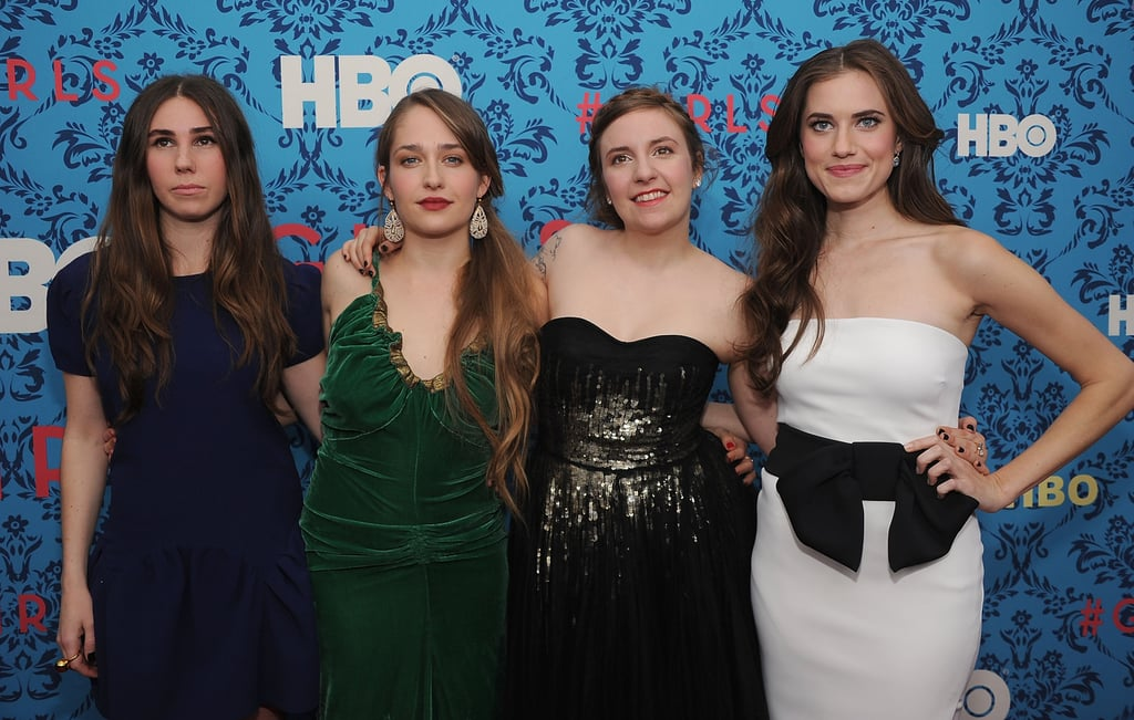 The stars of the new HBO series Girls, Zosia Mamet, Jemima Kirke, Lena Dunham, and Allison Williams at the premiere in NYC.