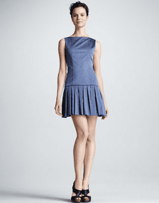 Alice + Olivia's pleated denim dress ($368) is another way to get chic with denim. Wear it to work with a blazer and pumps and at a party with platforms and baubles.