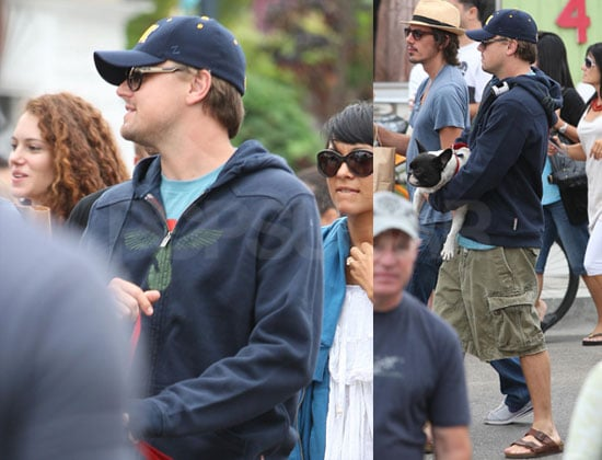Photos of Leonardo DiCaprio With Lukas Haas And a Dog at The Abbot Kinney Street Fair in LA