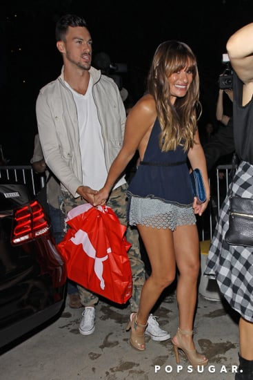 Lea Michele and Matthew Paetz held hands as they arrived.