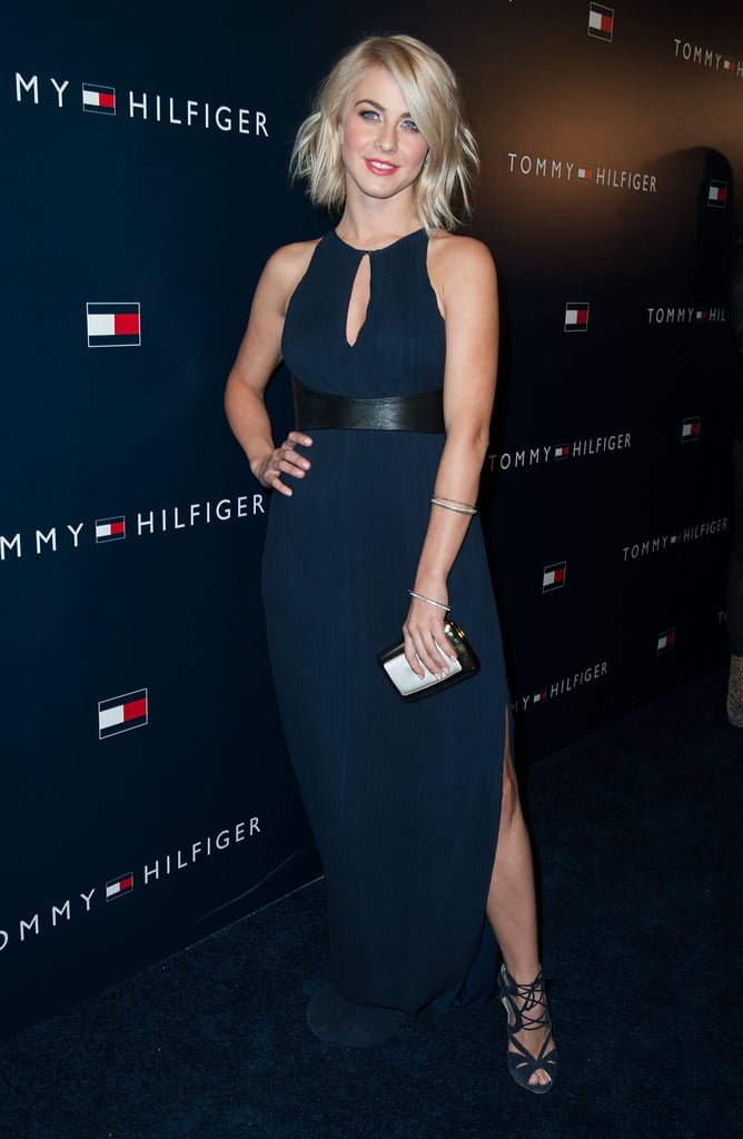 Julianne Hough opted for all-out glamour in a navy Tommy Hilfiger gown featuring a key-hole neckline and sexy slits.