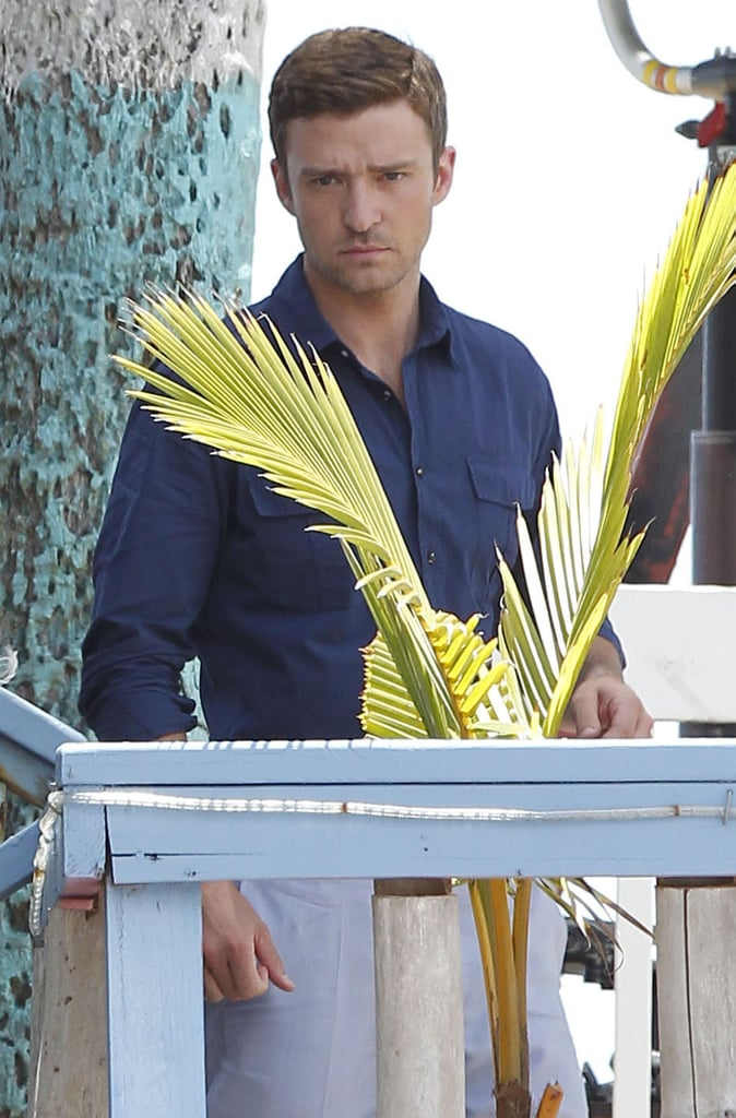 Justin Timblerlake looked handsome on the set of Runner, Runner.