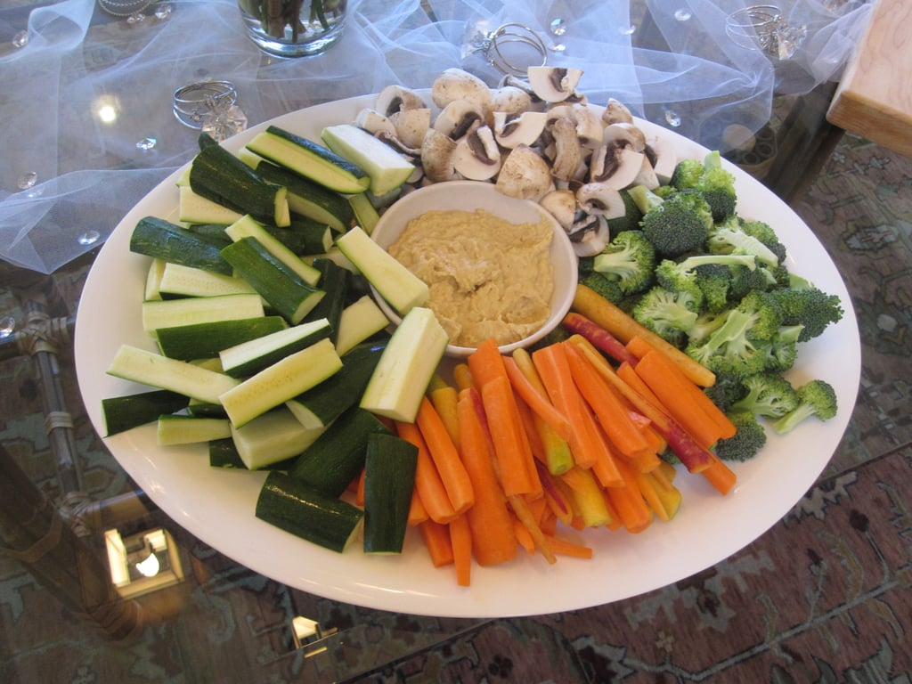 Veggies were served next to store-bought hummus.