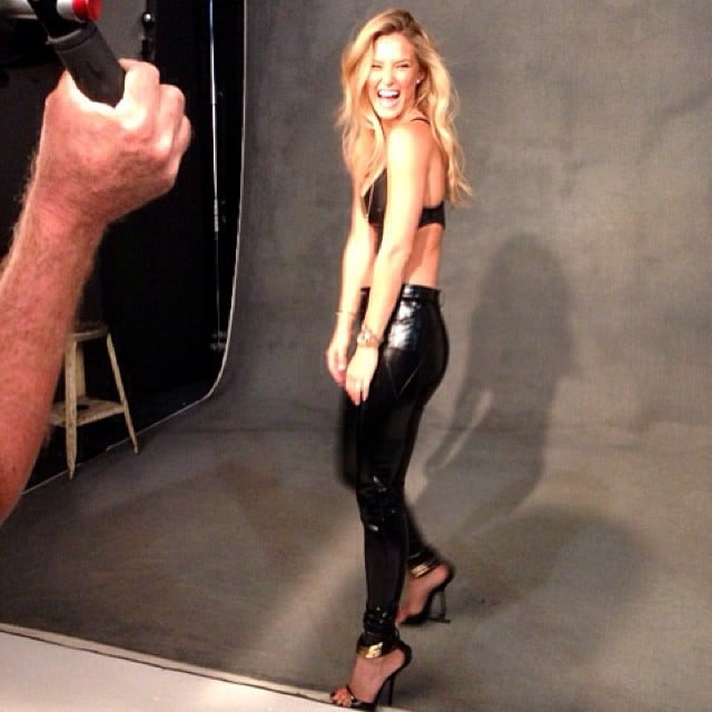 Bar Refaeli showed off her smile — and abs — during a photo shoot in NYC. Source: Instagram user barrefaeli