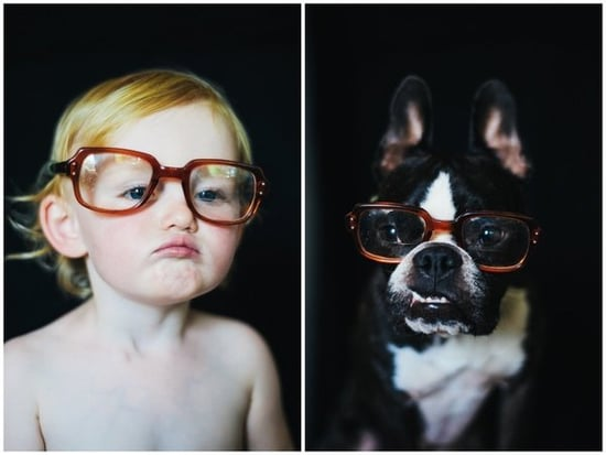 Mom's Side-By-Side Dog And Toddler Photos Are Pure, Adorable Fun