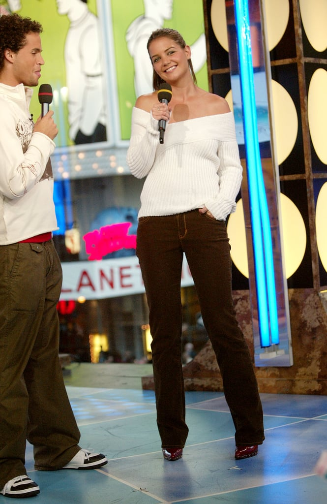 Katie Holmes made a 2003 TRL appearance in NYC.