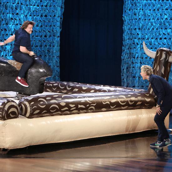 Jack Black Rides Mechanical Bull on Ellen DeGeneres Show