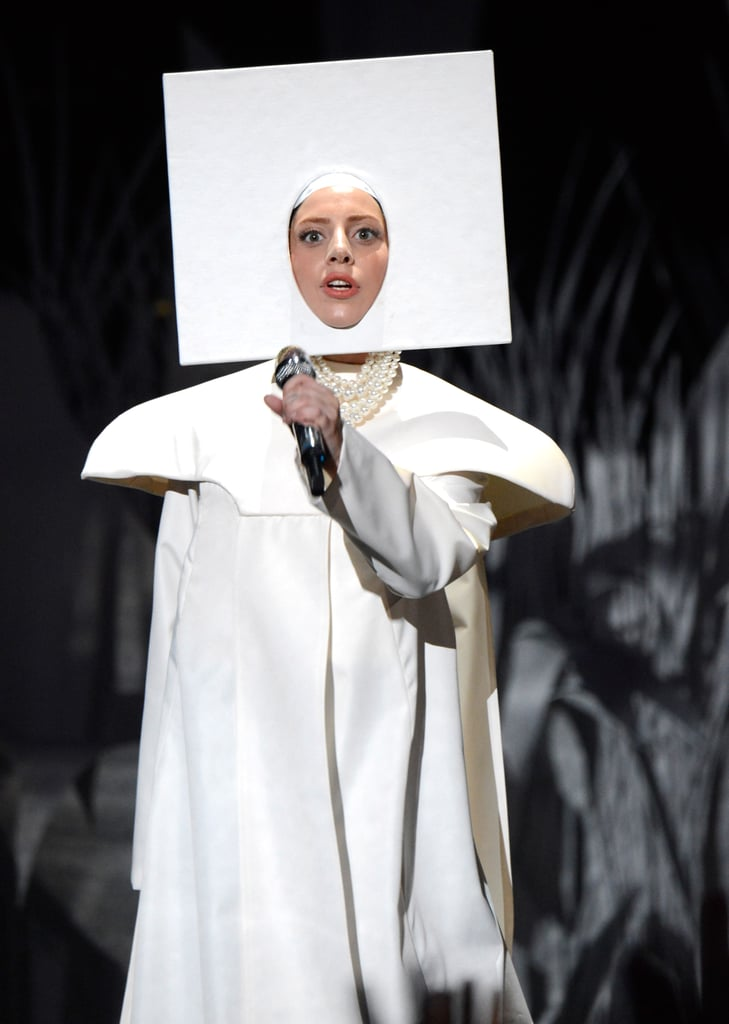 Lady Gaga opened the show in this get-up (before changing multiple times during her performance).