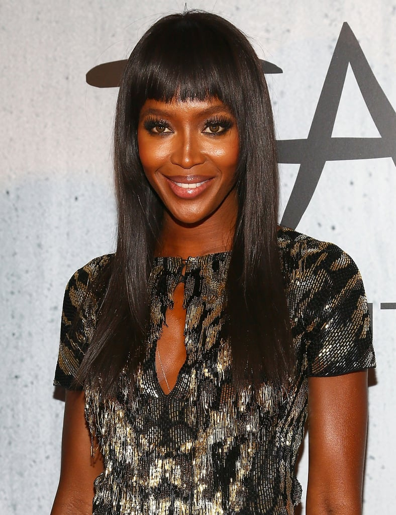 Naomi Campbell's smoky eye was enhanced with brow-grazing fringe and lengthy false lashes.