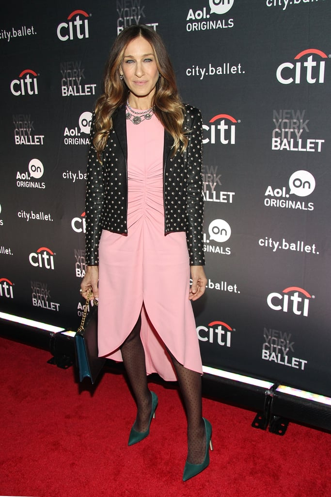She wore a ruched Giles creation and studded Saint Laurent jacket for the NYC premiere of city.ballet in November 2013.