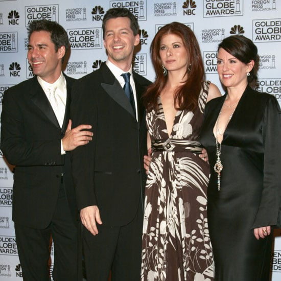 The cast of Will and Grace, Eric McCormack, Sean Hayes, Debra Messing, and Meghan Mullally, posed backstage during the 2006 show.