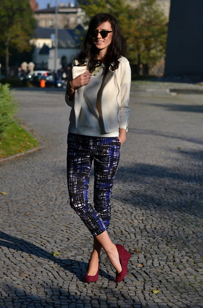 Printed pants shake up a polished jacket and give her burgundy heels a bold color counterpoint. Source: Lookbook.nu