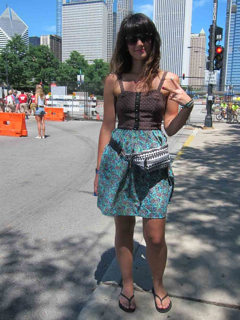 Krista's look — a two-print Target dress and an American Eagle Outfitters fanny pack — was a peace of cake.